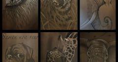 Diverse houtskool schilderijen