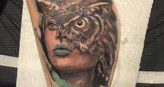 girl, owl tattoo